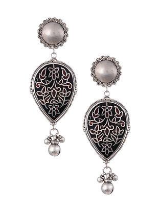 Black Red Enameled Tribal Silver Earrings