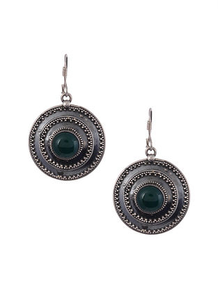 Tribal Silver Earrings with Green Onyx
