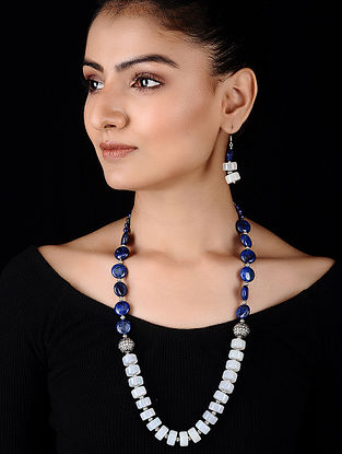 Blue-White Opal and Lapis Lazuli Beaded Silver Necklace with a pair of Earrings (Set of 2)