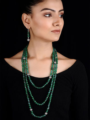 Green Beaded Silver Necklace with a pair of Earrings (Set of 2)