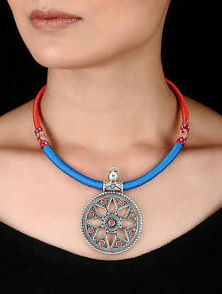 Coral Tribal Silver Necklace