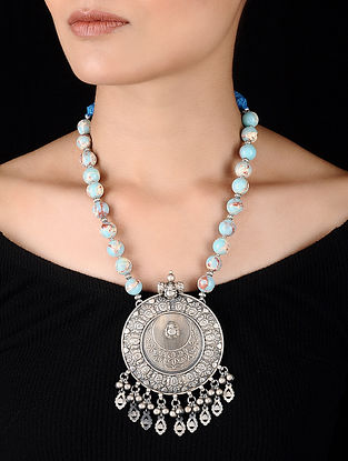Blue Opal Beaded Silver Necklace