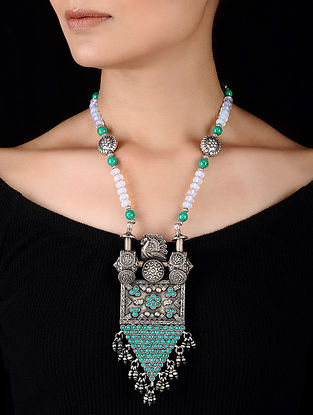 Turquoise and Opal Beaded Silver Necklace