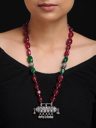 Ruby and Emerald Beaded Silver Necklace