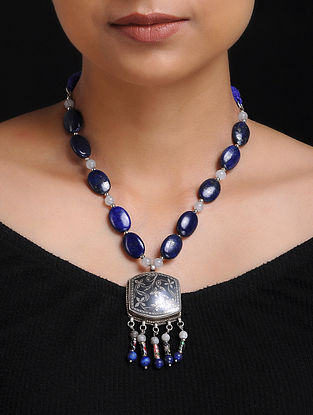 Lapis Lazuli and Opal Beaded Silver Necklace