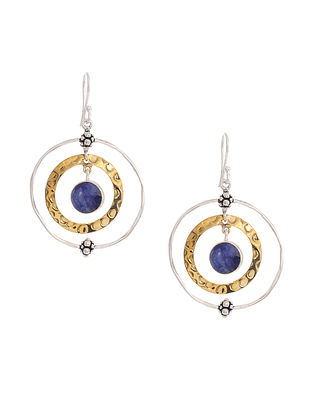 Lapis Lazuli Dual Tone Silver Earrings