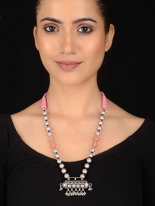 Mother of Pearl and Quartz Beaded Silver Necklace