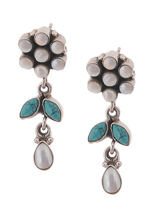 Pearl and Turquoise Silver Earrings