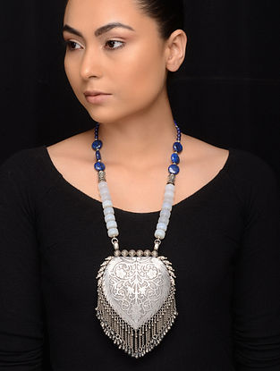Opal and Lapis Lazuli Tribal Silver Necklace