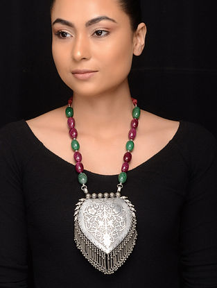 Pink-Green Tribal Silver Necklace