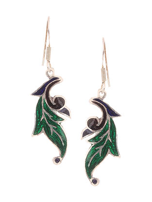 Green-Blue Enameled Silver Earrings