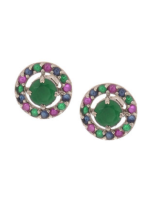 Emerald and Sapphire Silver Earrings