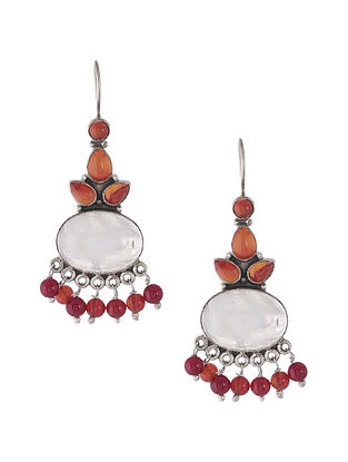 Moonstone and Carnelian Silver Earrings