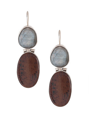 Red Jasper and Labradorite Silver Earrings