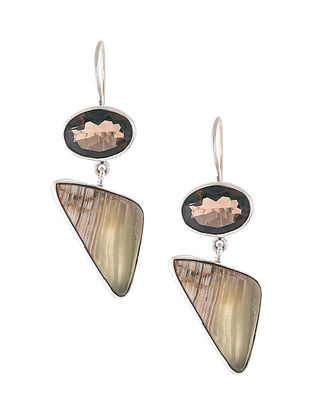 Smoky Quartz and Brown Agate Silver Earrings