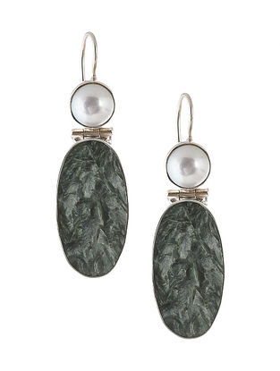 Pearl and Moss Agate Silver Earrings