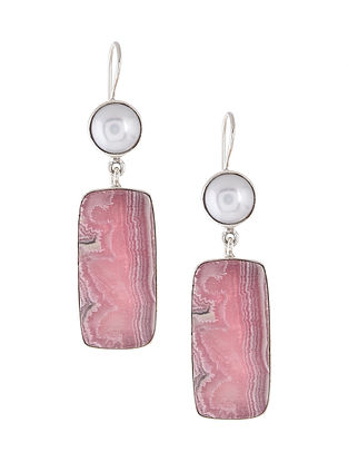 Pink Agate and Pearl Silver Earrings