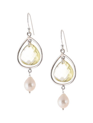 Lemon Quartz and Pearl Silver Earrings