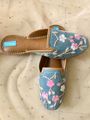 Blue-Multicolored Denim and Leather Mules