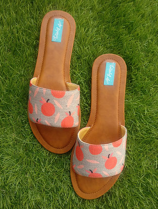 Red-Grey Printed Cotton and Leather Flats
