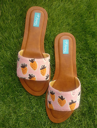 Pink-Brown Printed Cotton and Leather Flats