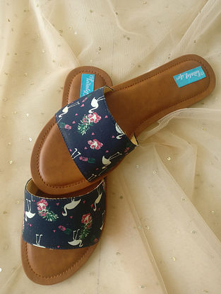 Blue-Multicolored Printed Cotton and Leather Flats