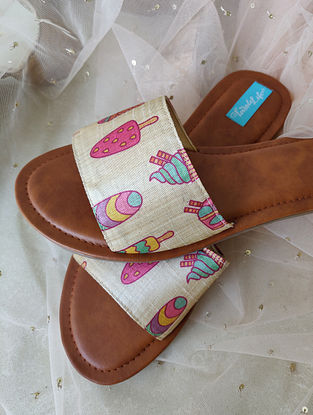 Cream-Multicolored Printed Cotton and Leather Flats