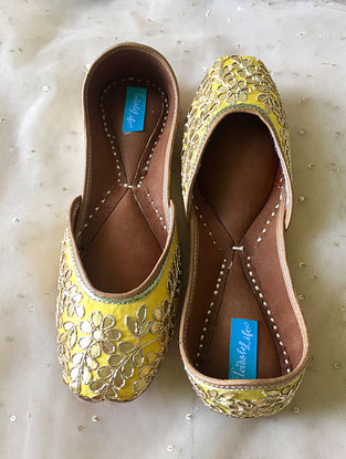 Yellow Handcrafted Silk and Leather Jutti with Gotapatti