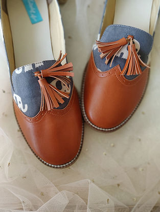 Tan-Grey Printed Leather Shoes