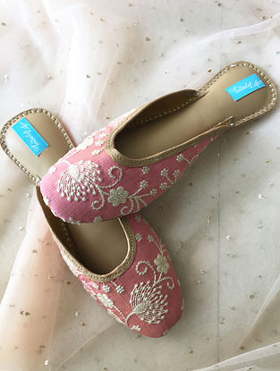 Pink-White Handcrafted Leather Mules