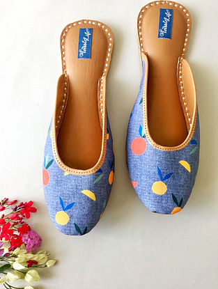 Blue-Multicolored Printed Cotton and Leather Mojaris