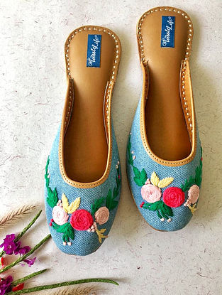 Blue-Multicolored Embroidered Denim and Leather Mojaris