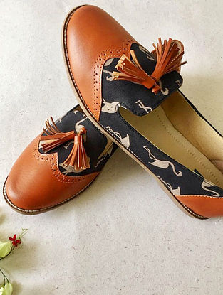 Tan-Black Printed Cotton and Leather Shoes with Tassels