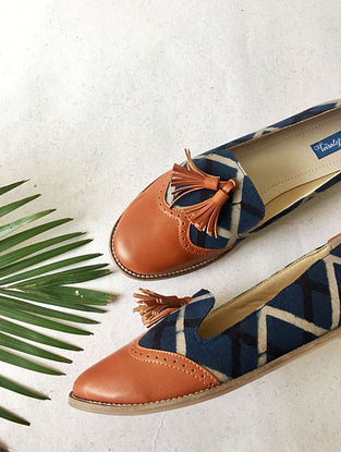 Tan-Blue Ajrak Printed Cotton and Leather Shoes with Tassels