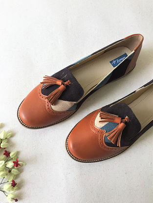 Tan-Blue Ajrak Printed Leather Shoes with Tassels