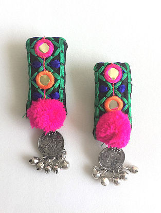 Multicolored Embroidered Earrings with Coin and Ghungroo