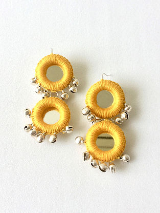 Yellow Thread Earrings with Mirrors and Ghungroo