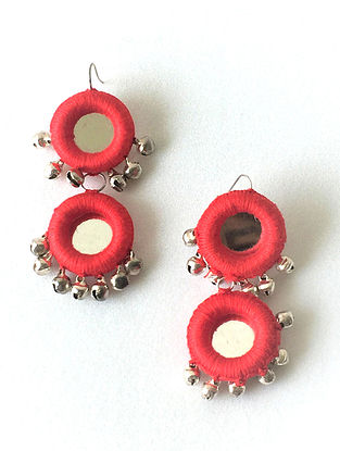 Red Thread Earrings with Mirrors and Ghungroo