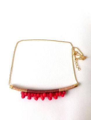 Red-BeigeThread Necklace with Pom Pom