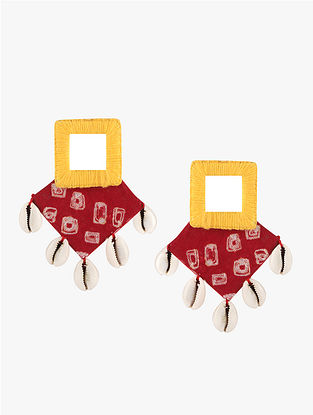 Red-Yellow Earrings with Mirrors and Shells