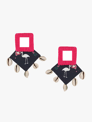 Black-Pink Earrings with Mirrors and Shells