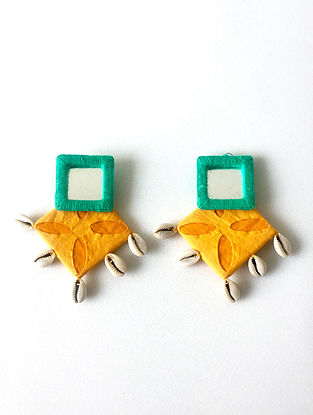 Yellow-Green Earrings with Mirrors and Shells
