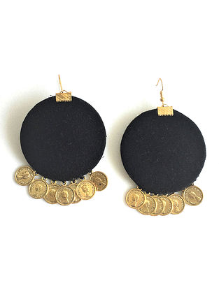 Black-Gold Earrings with Coins