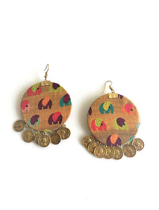 Beige-Multicolored Earrings with Coins