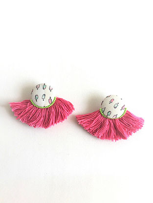 White-Multicolored Earrings with Tassels