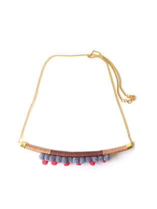 Multicolored Thread Necklace with Pom Pom
