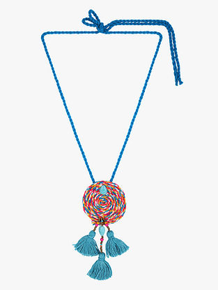 Blue-Multicolored Thread Necklace with Tassels