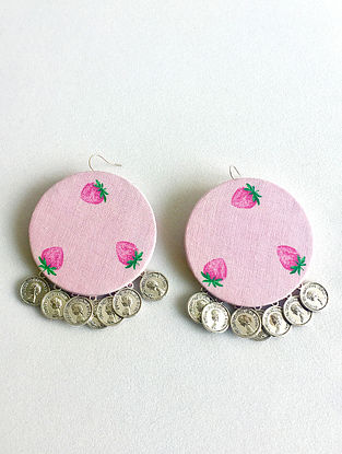 Pink Earrings with Coins
