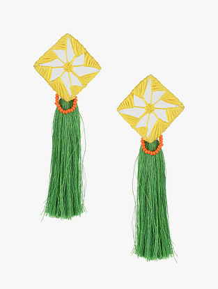 Green-Yellow Earrings with Mirrors and Tassels