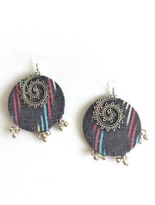Grey Ikat Printed Earrings with Ghungroo